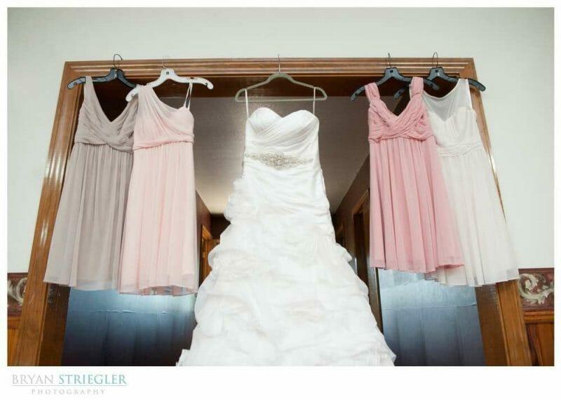 Arkansas Wedding dresses hanging