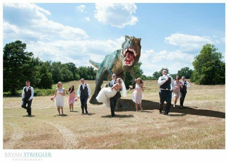 Arkansas Wedding bridal party chased by dinosaur
