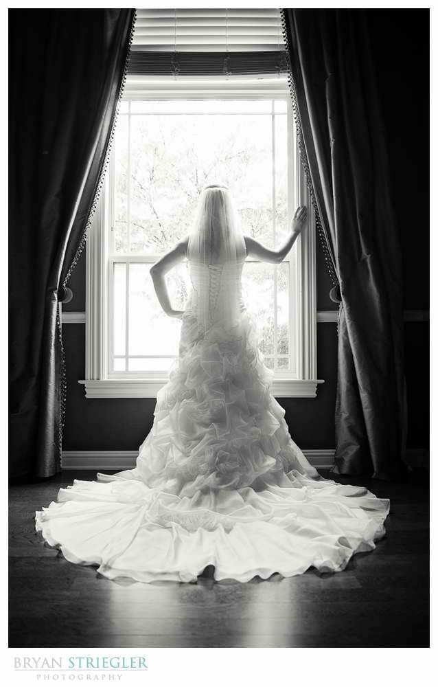 Fayetteville Bridal Portraits black and white back of dress