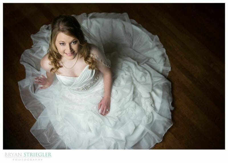 Fayetteville Bridal Portraits seated with dress around