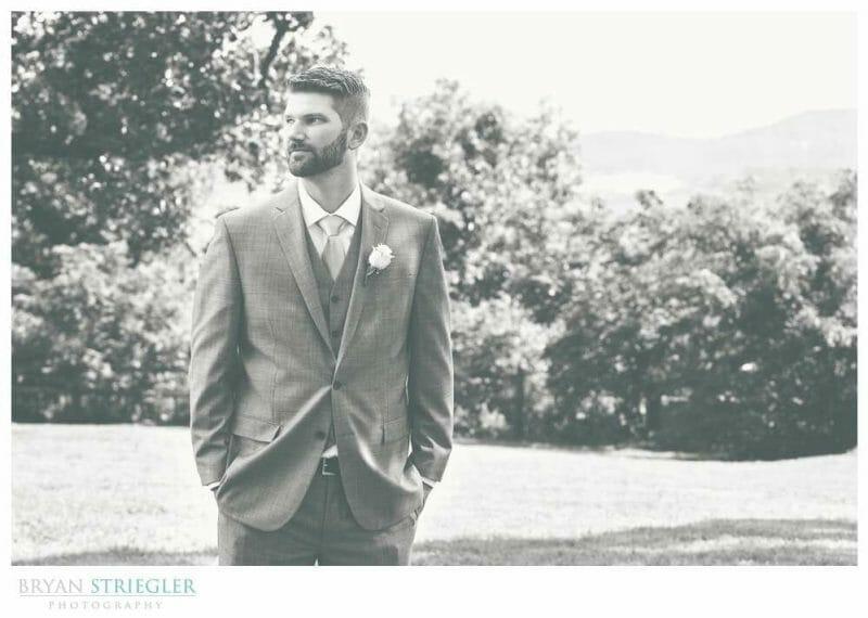 Whitney Mountain Lodge wedding groom black and white