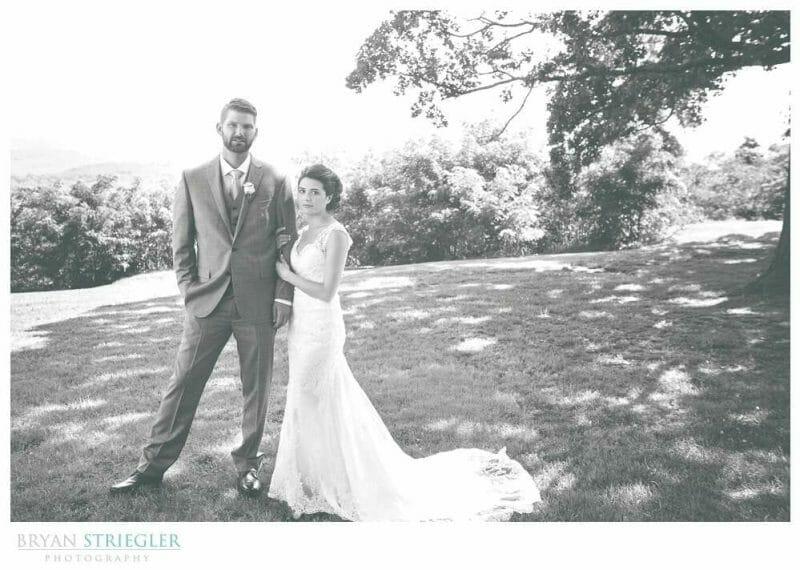 Whitney Mountain Lodge wedding couple portrait black and white