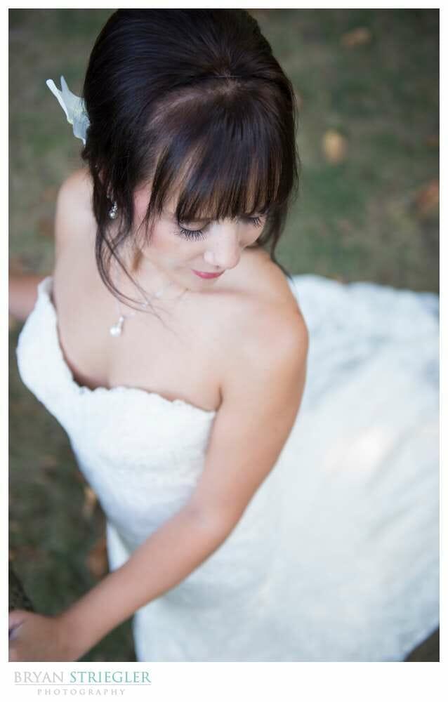 Ashley's Arkansas Bridal Portraits at Magnolia Gardens looking down