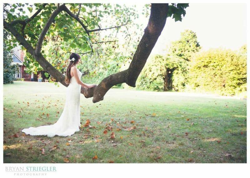Ashley's Arkansas Bridal Portraits at Magnolia Gardens tree branch back of dress