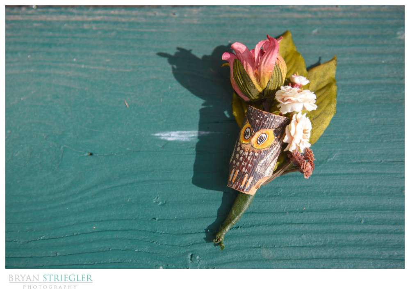 Eureka Springs Wedding Photographer owl boutonnière
