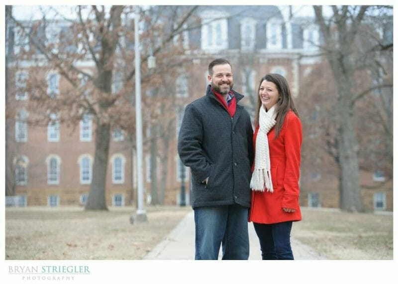 Fayetteville Wedding Photographer laughing in front of Old Main