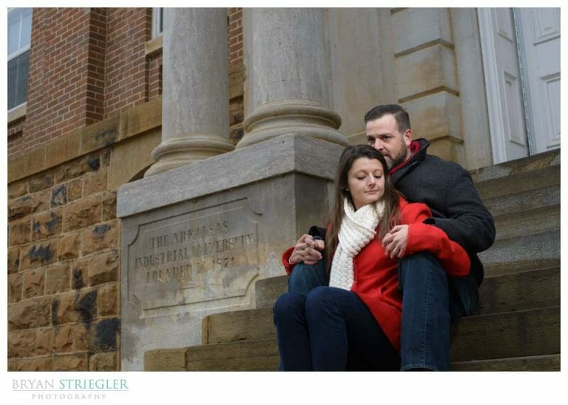 Fayetteville Wedding Photographer Old Main steps U of A