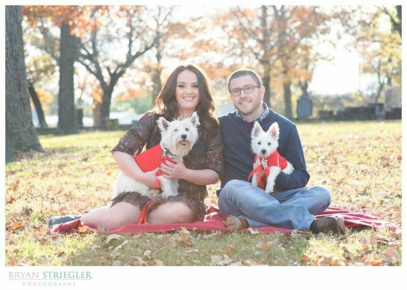 Engagements at Prairie Grove Battlefield Park sitting with dogs
