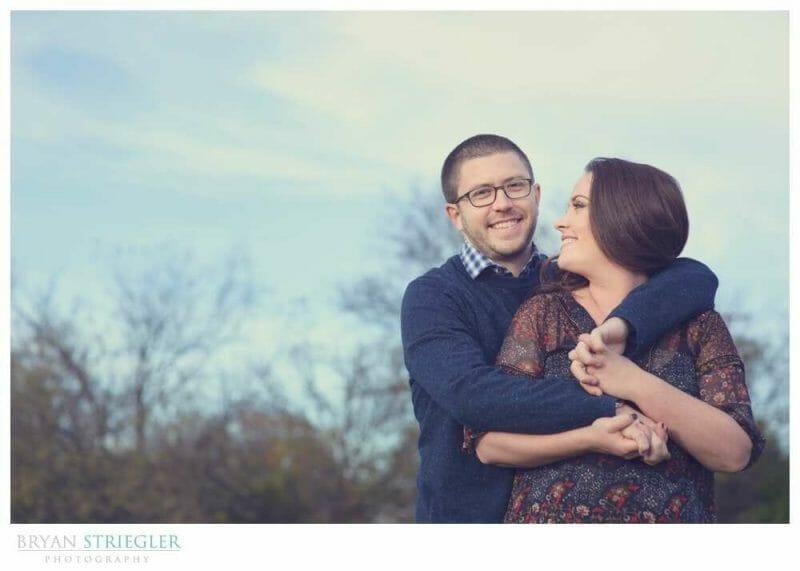 Engagements at Prairie Grove Battlefield Park hugging blue sky behind