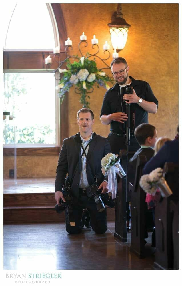 Having a Wedding Photography assistant front of chapel waiting