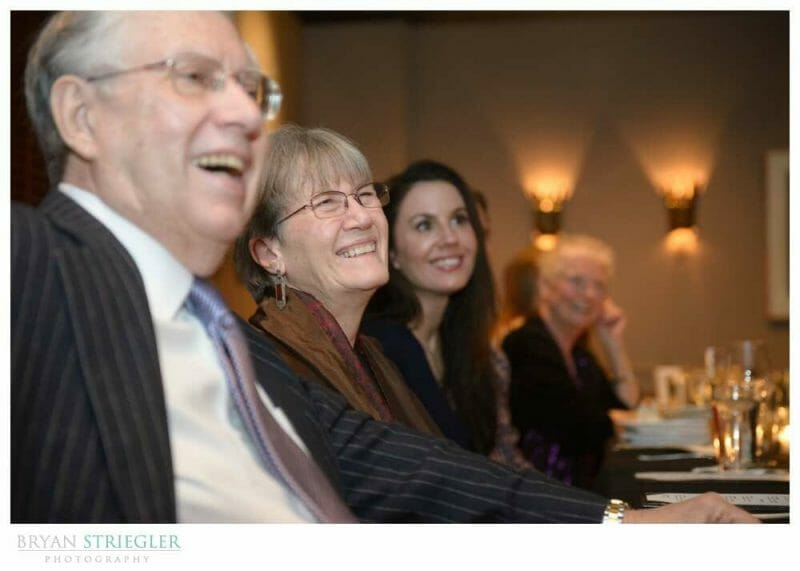 small, intimate wedding family laughing
