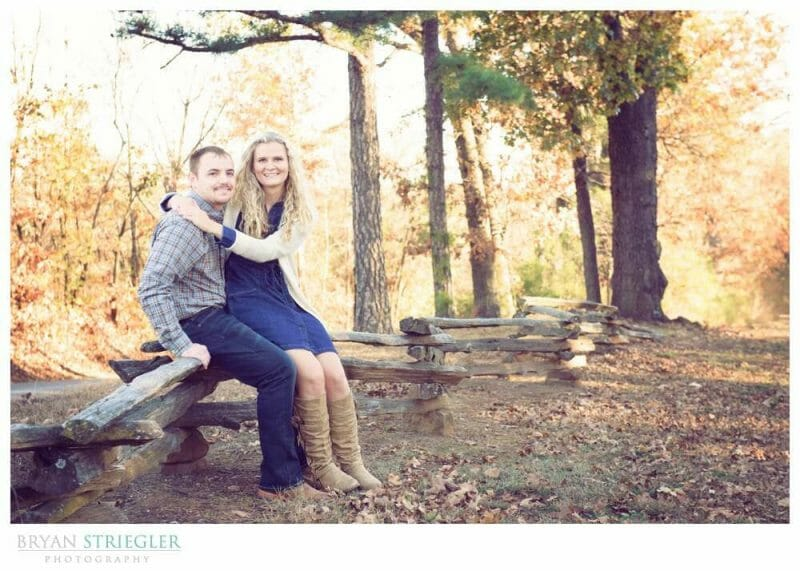 Shooting Winter Engagement Photos on fence