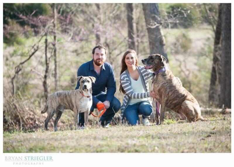 Unique Engagement Photos two big dogs