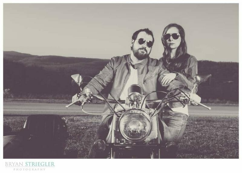Unique Engagement Photos black and white on motorcycle