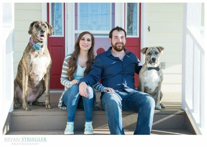 Unique Engagement Photos on porch with dogs