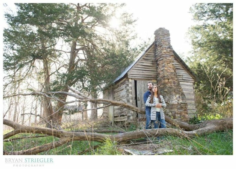 Unique Engagement Photos old cabin in woods