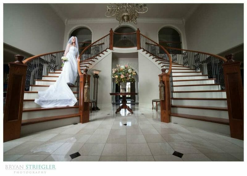 Staircase Bridal Portraits wide angle