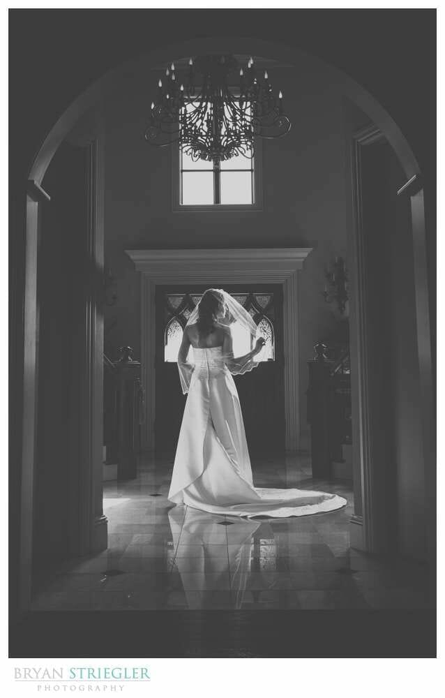 Staircase Bridal Portraits dramatic lighting black and white