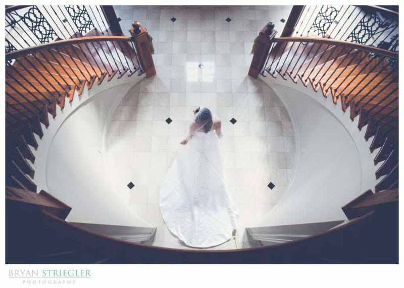 Staircase Bridal Portraits high angle looking down