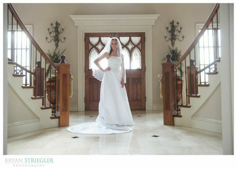 Staircase Bridal Portraits in front of door