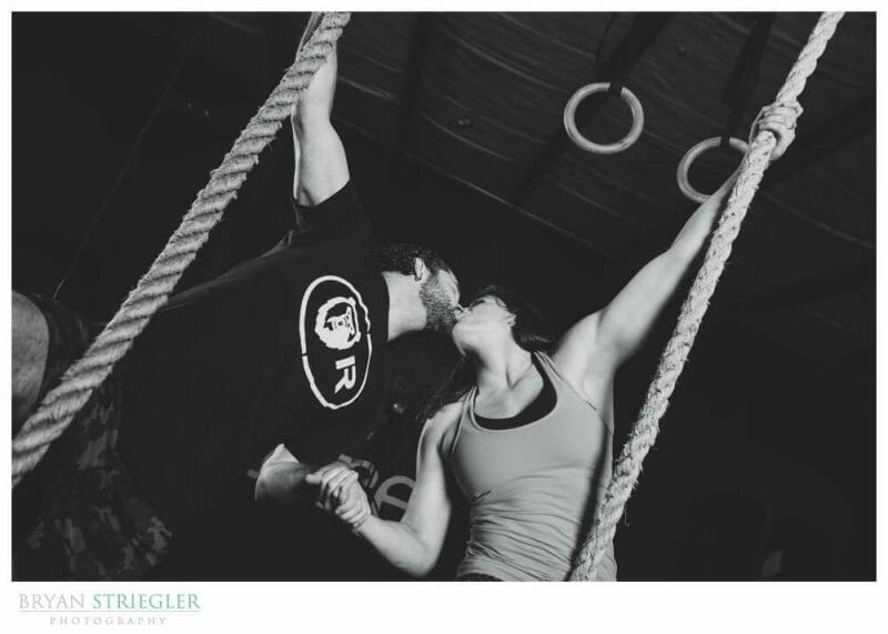 Arkansas Crossfit Engagement Photos rope climb