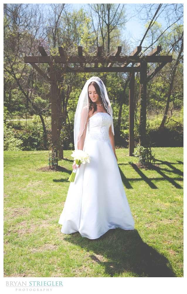 Choosing a wedding venue bride outside