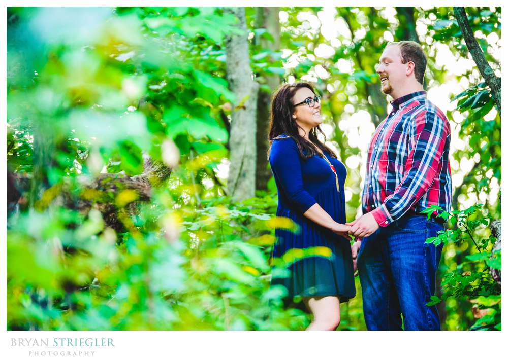 engagement portraits in woods