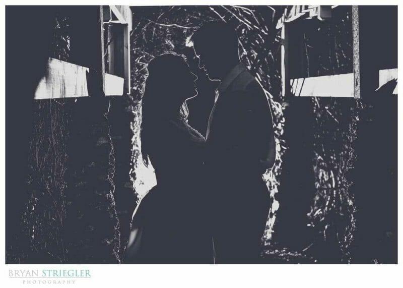 black and white creative wedding portrait