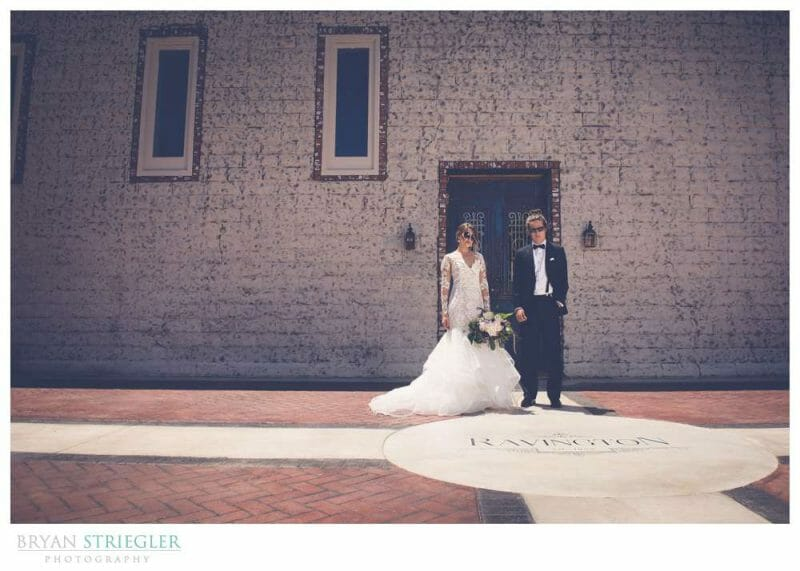 Bride and Groom in front of Ravington