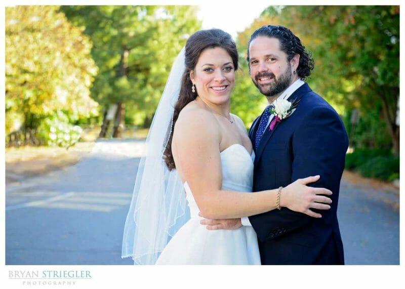 bride and groom on street