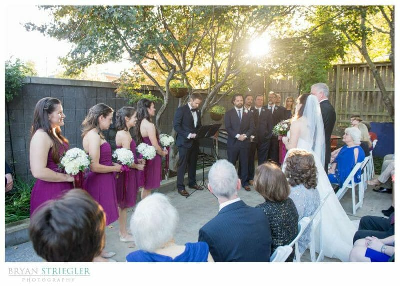 wedding ceremony at a house