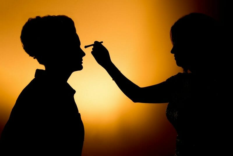 Creative Lighting during getting ready at a wedding