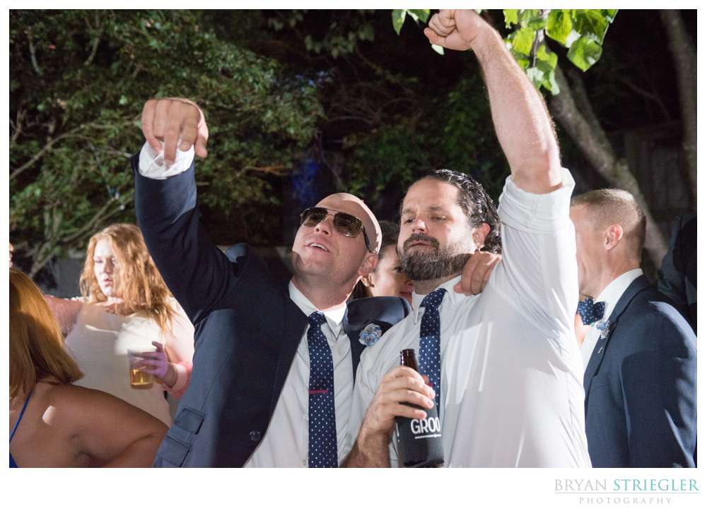 Partying at a wedding