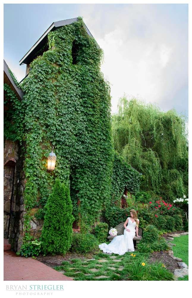 bride seated in front of Matt lane Farm