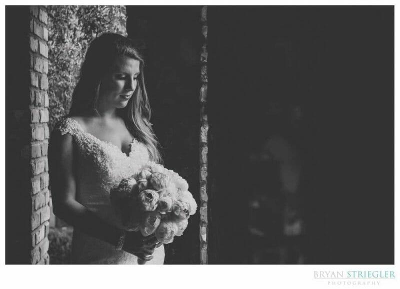 black and white bridal portrait at Matt Lane Farm