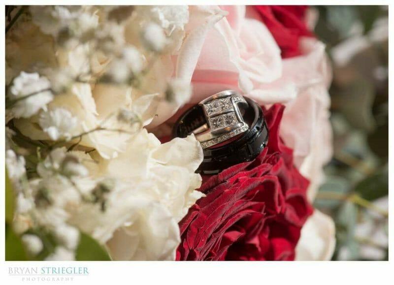 Macro shot of wedding ring in flowers