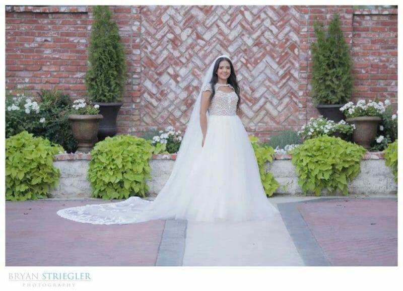 bridal portrait in a courtyard