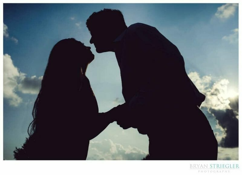 silhouette engagement photo in Fayetteville