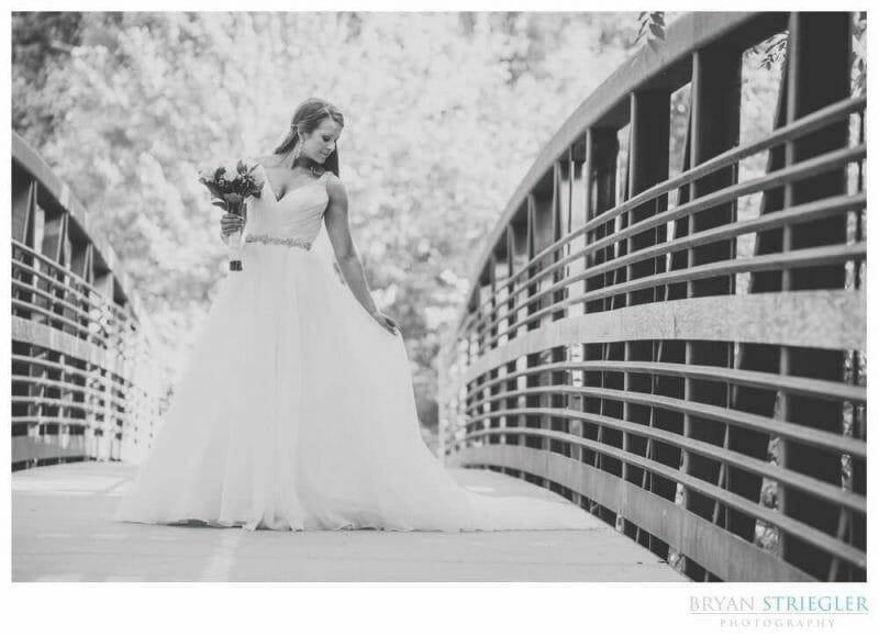 bridal portrait on bridge at Compton Gardens