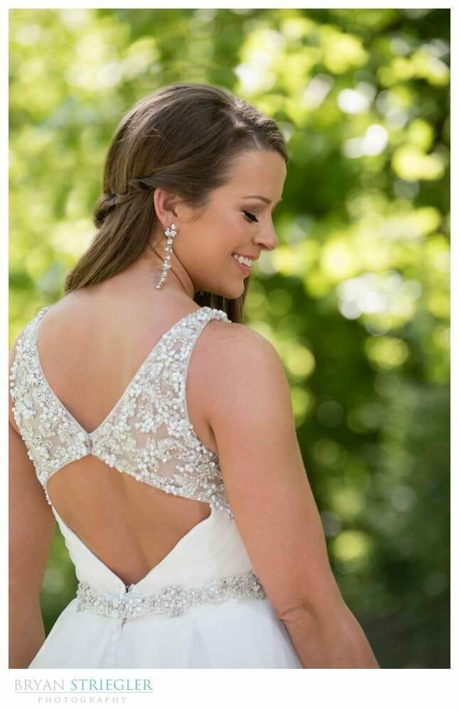 bridal portrait looking over her shoulder