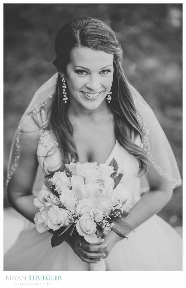 high angle bridal portrait black and white