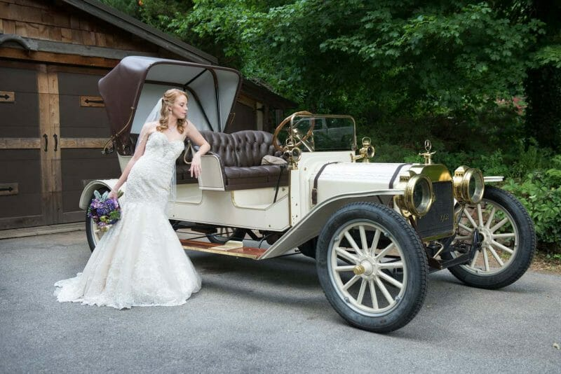 St.-Catherine's-at-Bell-Gable-Wedding-Venue bride with classic car