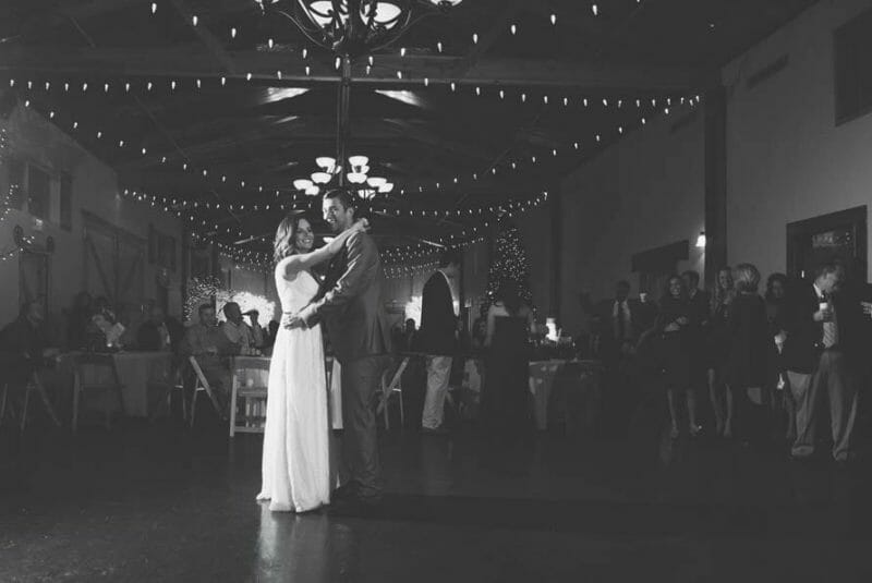 First dance with lights hanging