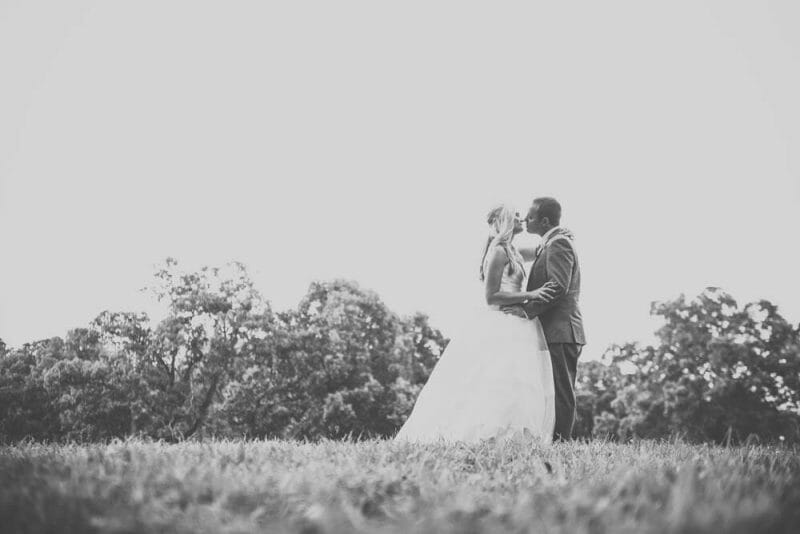 outdoors portrait of bride and groom