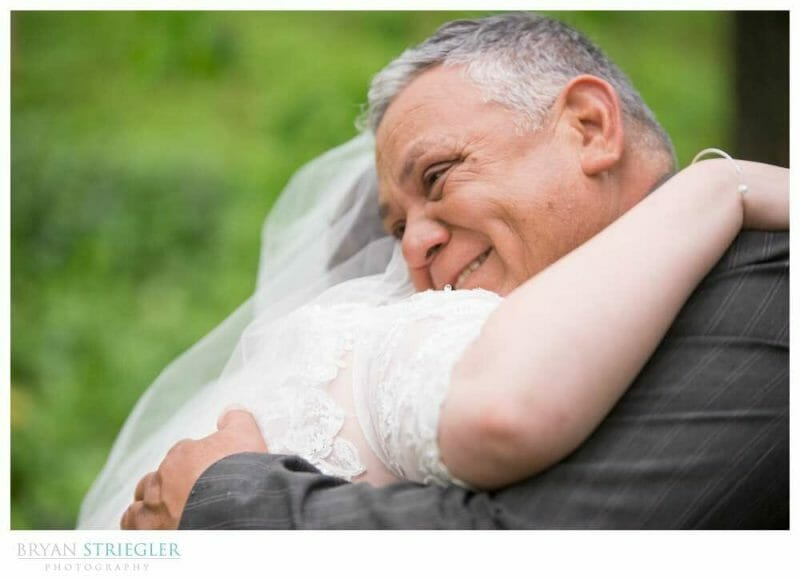 Dad crying during first look with bride