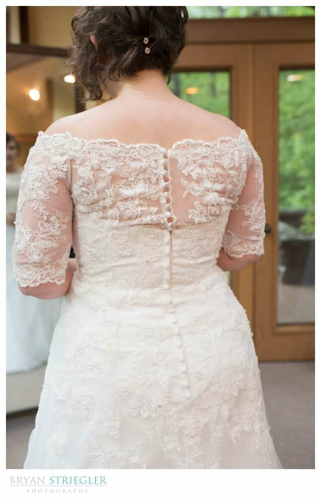back of the wedding dress at Mildred B. Cooper Chapel