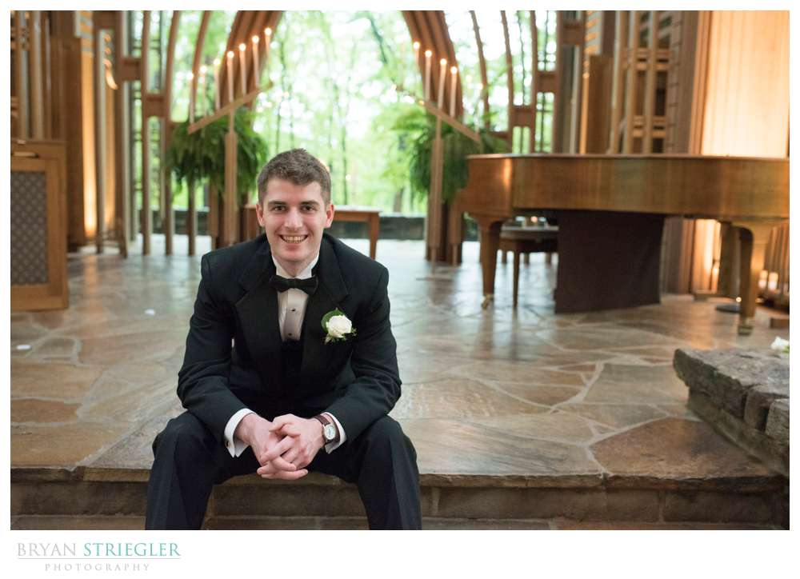 groom portrait inside Mildred B. Cooper Chapel