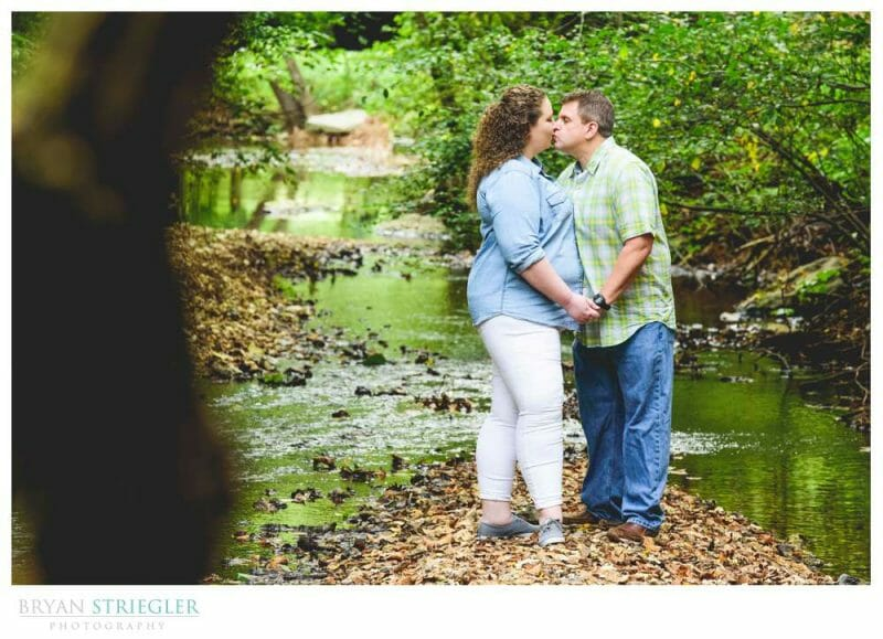 engagement photo by a creek