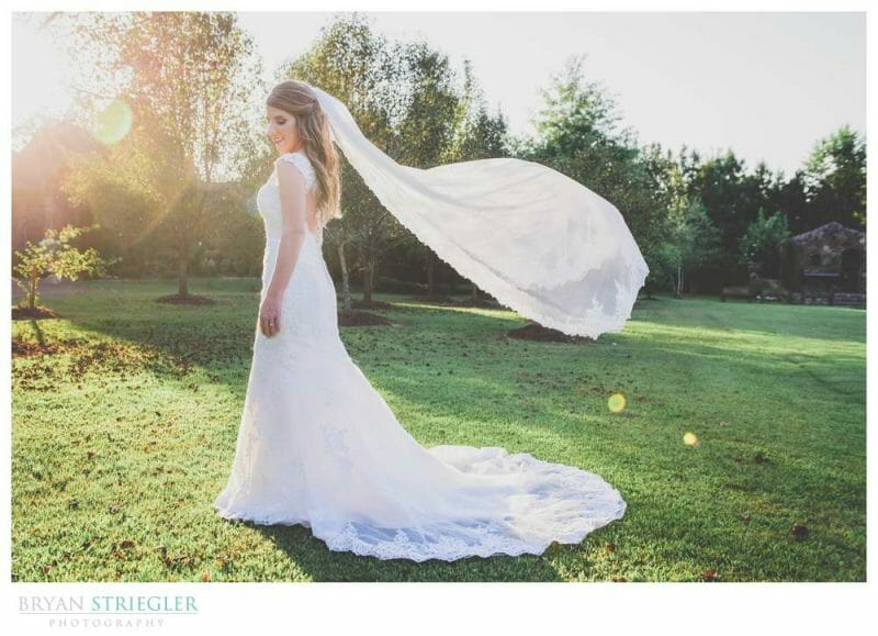 bride with flying veil at Matt Lane Farm