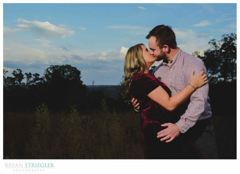 engagement photos with blue sky